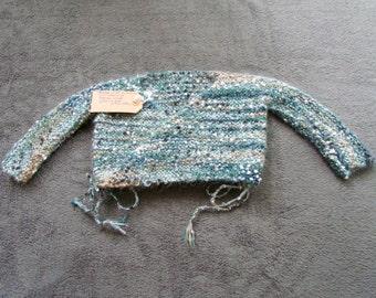 Vest color woolen wrap-over top ocean