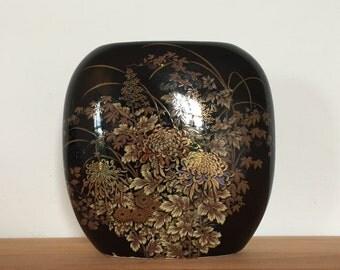 VINTAGE JAPANESE VASE by Shibata, Black Vase, Chrysanthemum Theme, Gold Details