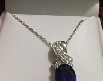Blue and white sapphire silver necklace