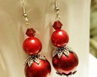 Crimson Red Beaded Drop Earrings