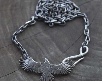 Silver Eagle Necklace | Eagle Pendant | Sterling Silver Necklace | Native American Inspired | Silver Bird Pendant | Oxidized Silver Jewelry