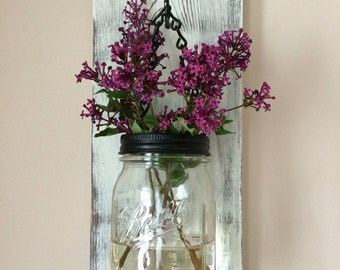 Mason Jar, Reclaimed Wood, Wall Hanging, Sconce