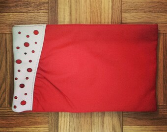 1980's Bedford Place leather and fabric clutch purse - red and white