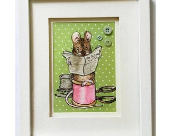 Handmade Beatrix Potter Tailor Mouse Watercolour Painting
