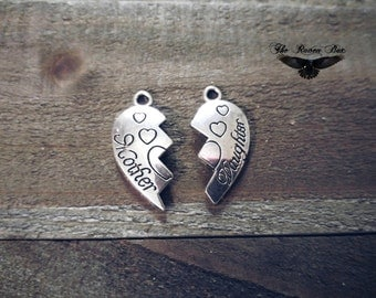 Mother Daughter Charms Pendants Antiqued Silver Friendship Heart Charms Broken Heart Charms