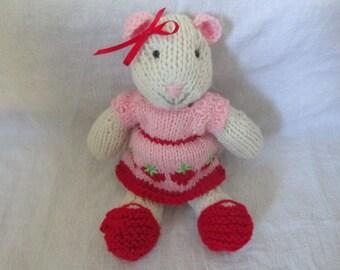 Hand knit stuffed mouse