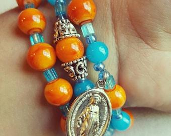 Miraculous Medal Blood Orange & Turquoise Stack Set