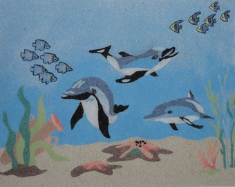 Displays sand-dolphins