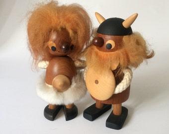 Vintage Sveistrup Denmark mid century danish teak troll viking couple figurines - Bojesen era