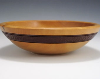 Madrone Bowl with Texured and Painted Band