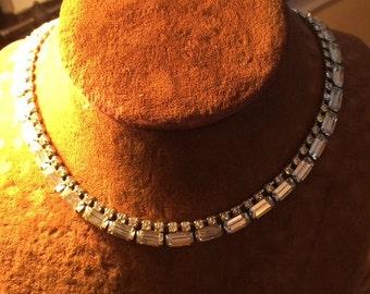 elegant vintage 1950s rhinestone choker collar necklace