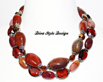 Double Strand Fire Agate Statement Necklace, Rare Burnt Fire Agate and Crystal Statement Necklace