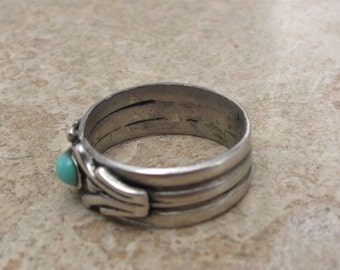 vintage ornate sterling silver turquoise set ring USA size 6