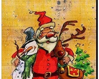 Santa, Snowman and Reindeer Buddies Mousepad