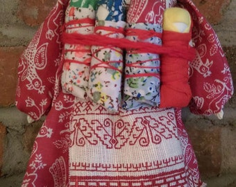 Handmade Russian Vintage Doll with babies in a traditional folk dress