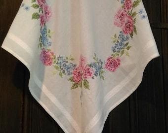 Vintage cotton tablecloth hand stitch. Floral design