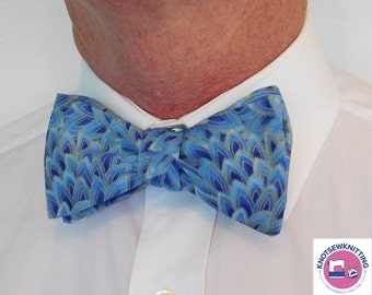 Blue Feathers Bow Tie