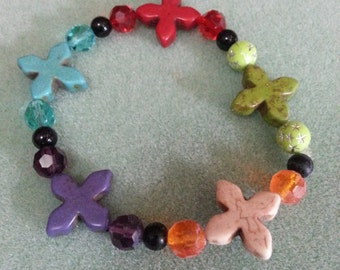 Multi  stone crosses bracelet.