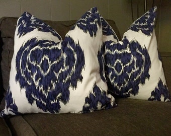Blue and white 20x20 pillow cover