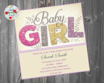 Baby Shower Invitation Pink Girl Baby Girl