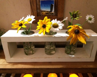 wooden mason jar flower holder