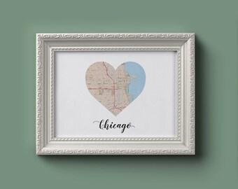 Chicago Heart Map (Digital Printable)