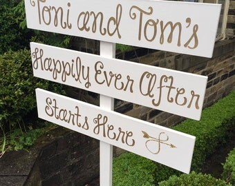 Personalised happily ever after wedding sign