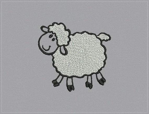 Curly Lamb - Machine embroidery design - 3 sizes for instant download