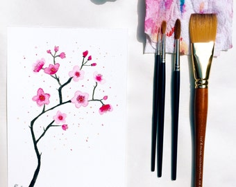 Floral watercolor, Cherry blossom | Original