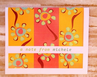Fun Mod Flowers on Orange & Pink.  Personalized Folded Note Cards.  Set of 10.  A Note from You.