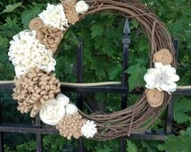 "Elegant neutral felt flower grapevine wreath. 18"" handmade wreath."