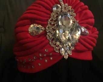 Red turbin with swarovski  crystals