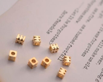 10 of 14K gold filled tiny cube spacer beads 3.5mm MX16