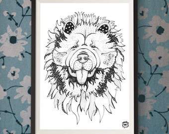 Chow Chow Dog A4 A5 illustration, print, art, dog print, dog drawing, chow chow illustration, chow chow drawing