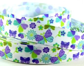 """7/8"""" Butterfly Ribbon - Purple & Blue Butterfly Printed Grosgrain Ribbon"""