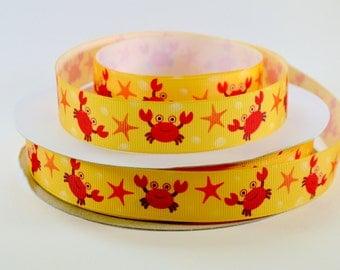 "7/8"" Crab Ribbon - Crabs and Starfish on Yellow - Grosgrain Ribbon"