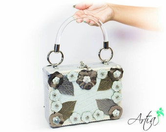 Silver white leather box purse