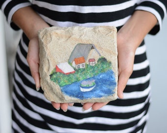 Original landscape painting on stone