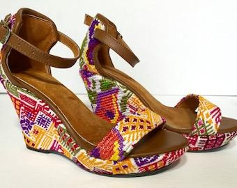 Fabric Wedge-Huipil Handmade Wedge-Boho Chic Wedge-Size 7.5