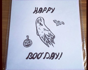 Happy Boo'Day Ghost Greeting Card Halloween Birthday