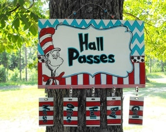 Student Hall Passes for Classroom Teachers - Reusable matching passes -Hall Pass-Dr Seuss cat in the hat