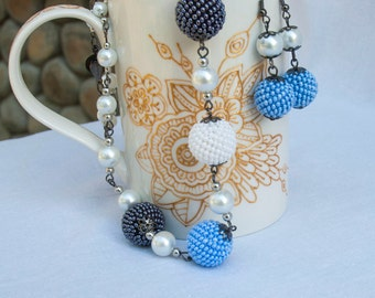 Free shipping!!! Beaded Beads Necklace and Beaded Ball Earrings, Beadwoven Jewelry, Short Necklace with Bead Balls