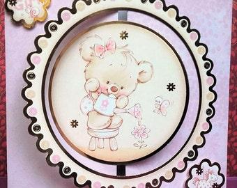 Shimmering pink baby girl bear card