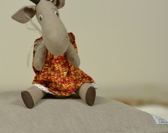 "Linen unique toy ""Goat Zoja"" by handmade"
