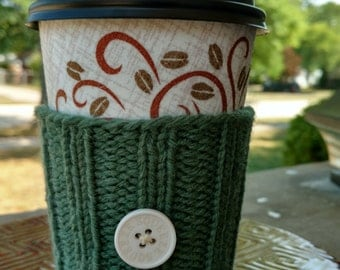 Coffee Cozy: Green with White Button