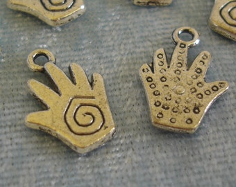 8 x Reiki / Healing Hand Charms - Tibetan Silver