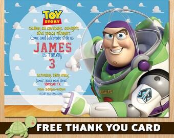 Toy Story Invitation - Toy Story Buzz Lightyear Invite - Disney Toy Story Birthday  Invitation Party - Buzz
