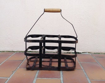 ANTIQUE VINTAGE FRENCH Handmade Zinc Metalware 6 Bottle Wine Carrier Basket