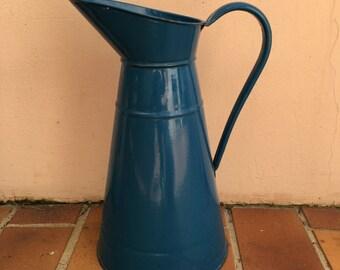 Vintage French Enamel pitcher jug water enameled dark blue