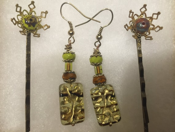 vibrant earrings and bobby pin set
